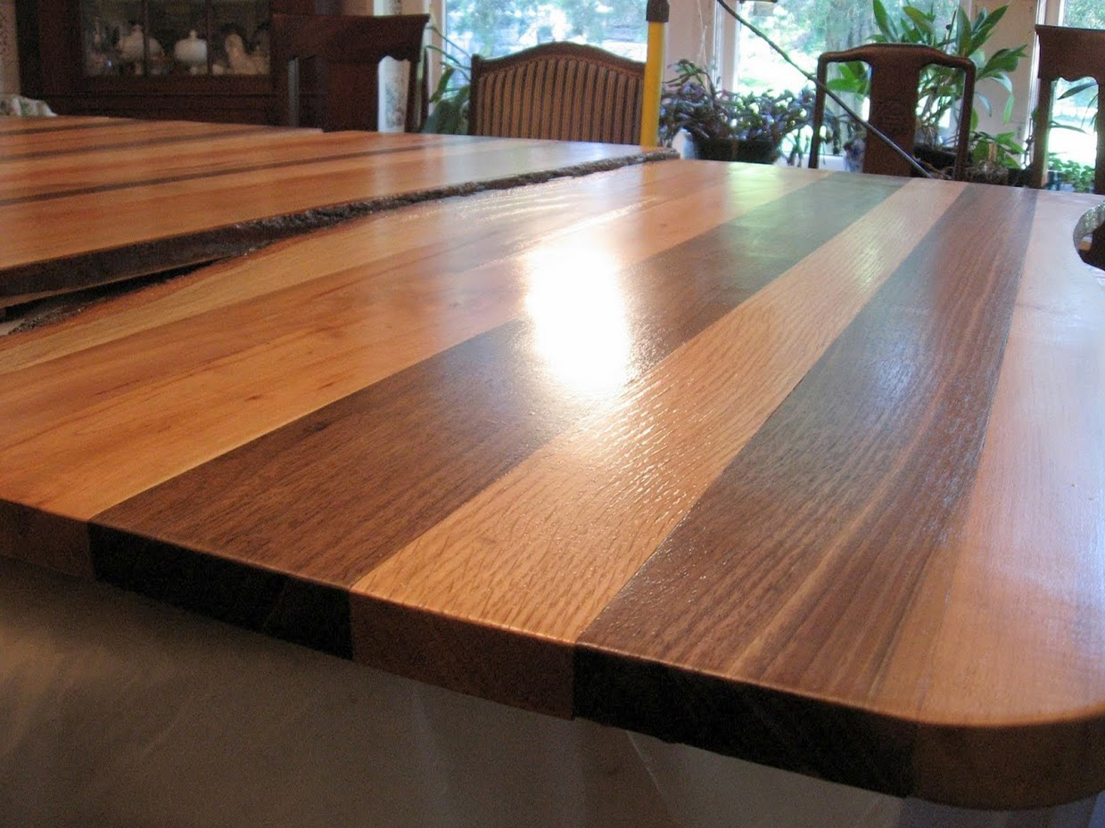 Beautifully Finished Walnut Oak Mixed Table Top. Eco friendly wood table and countertops in Winston Salem  NC